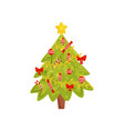 flat icon of christmas tree home decor vector image