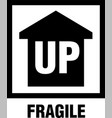 fragile up arrow box sign with arrow up vector image