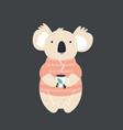 funny cute koala in sweater drinking tea vector image