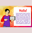 girl with tablet vector image vector image