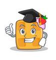 graduation waffle character cartoon design vector image vector image
