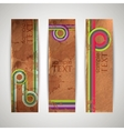 grunge retro banners with colorful ribbons vector image