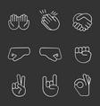 hand gesture emojis chalk icons set vector image vector image