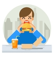 Happy Man Eating Hamburger Sandwich Icon Fast Food vector image vector image