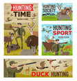 hunting animal and birds hunters guns and tent vector image vector image