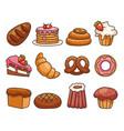 isolated on white background set bakery food vector image