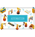 isometric automated industrial machines concept vector image vector image