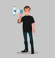 joyful man shouting into a megaphone vector image