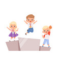 kids victory children on pedestal with medals vector image