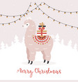 merry christmas greeting card cute alpaca with vector image vector image