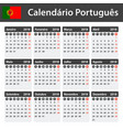 portuguese calendar for 2018 scheduler agenda or vector image