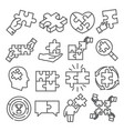 puzzle line icons on white background vector image