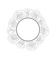 rose banner wreath outline vector image vector image