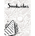 sandwiches vintage hand drawn poster vector image vector image