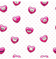seamless pattern with funny heart emoji vector image