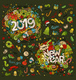 set of 2019 and new year hand lettering and vector image