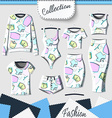 Set of clothes with stylish print and stereo vector image