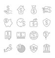 simple set money related line icons vector image vector image