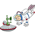 spaceman with alien cartoon vector image