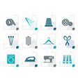stylized textile objects and industry icons vector image vector image