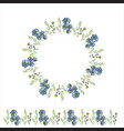 summer floral wreath wildflowers circle frame vector image