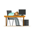 tired businessman sleeping at workplace on laptop vector image vector image