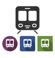 train icon in different variants with long shadow vector image