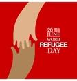 Two hands emblem of World Refugee Day vector image