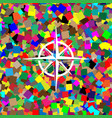wind rose sign white icon on colorful vector image