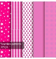 5 pink geometrical seamless patterns vector image