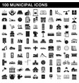 100 municipal icons set simple style vector image