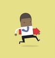 african businessman running and holding red arrow vector image vector image