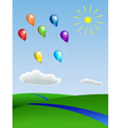 balloons with the landscape vector image vector image