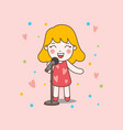 blonde cute girl sing with red dress good for vector image vector image