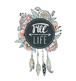 Boho style background Flowers feathers and leaves