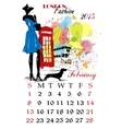 Calendar with fashion girl vector image vector image