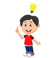 Cartoon boy with a good idea vector image