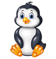 Cartoon funny penguin sitting isolated vector image vector image
