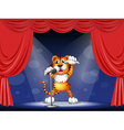 Cartoon Performing Tiger vector image vector image