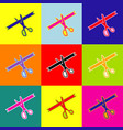 ceremony ribbon cut sign pop-art style vector image vector image