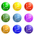 coin stack money icons set vector image vector image