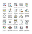 colored icons set of internet and digital marketin vector image vector image