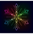 colorful shiny snowflake on dark background vector image