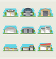commercial storehouse isolated set vector image vector image