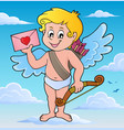 cupid with envelope theme image 2 vector image vector image