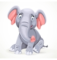 Cute little elephant sitting isolated on white vector image