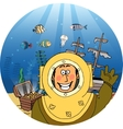 Diver with treasure chest vector image vector image