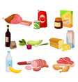flat set of various groceries fresh meat vector image