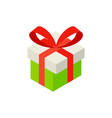 gift box with bow isometric object vector image vector image