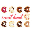 glazed colorful donuts vector image vector image